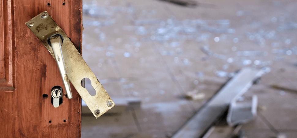 broken lock on a door