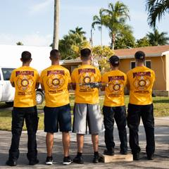 Firefighters in team shirts